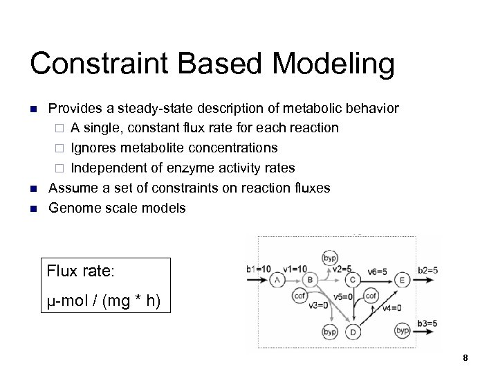 Constraint Based Modeling n n n Provides a steady-state description of metabolic behavior ¨
