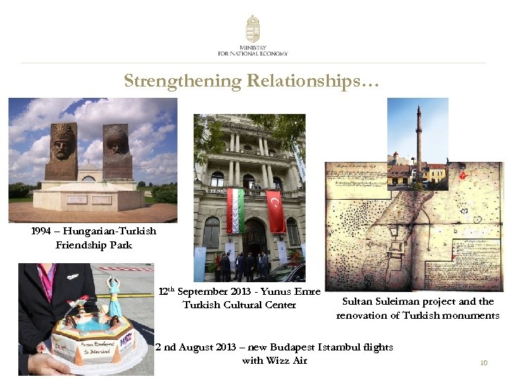 Strengthening Relationships… 1994 – Hungarian-Turkish Friendship Park 12 th September 2013 - Yunus Emre