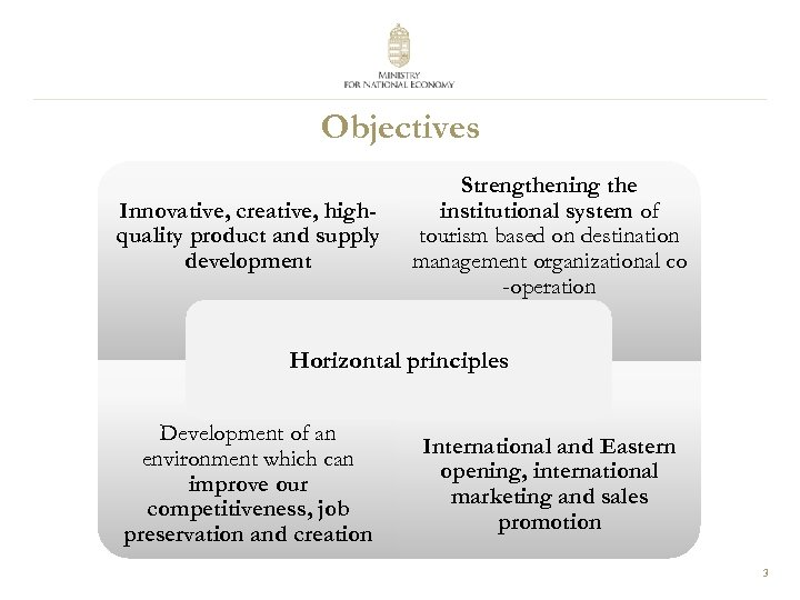 Objectives Innovative, creative, highquality product and supply development Strengthening the institutional system of tourism