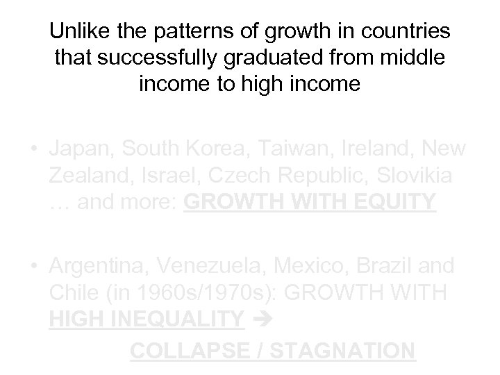 Unlike the patterns of growth in countries that successfully graduated from middle income to