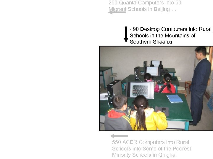 250 Quanta Computers into 50 Migrant Schools in Beijing … 490 Desktop Computers into