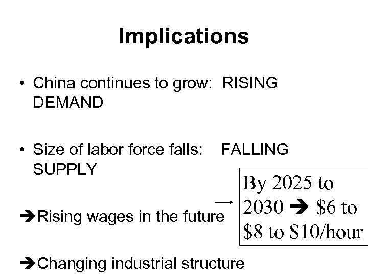 Implications • China continues to grow: RISING DEMAND • Size of labor force falls: