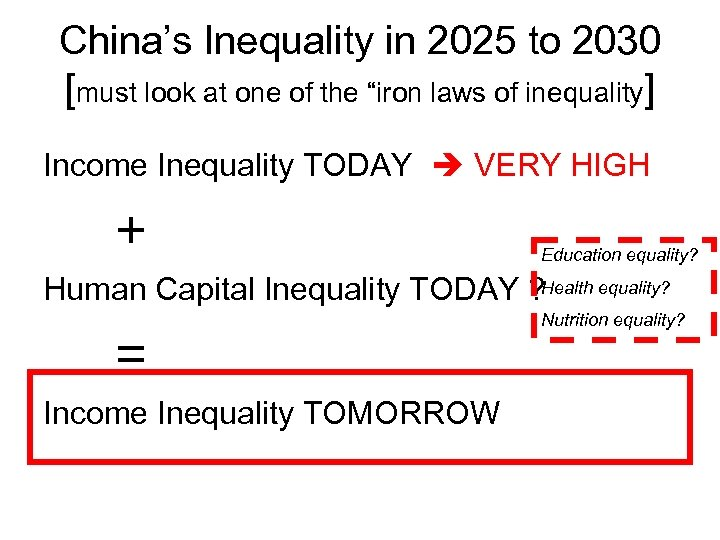 "China's Inequality in 2025 to 2030 [must look at one of the ""iron laws"