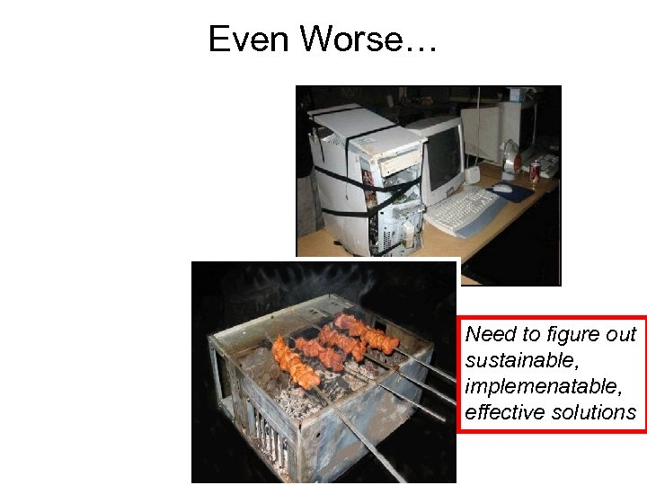 Even Worse… Need to figure out sustainable, implemenatable, effective solutions