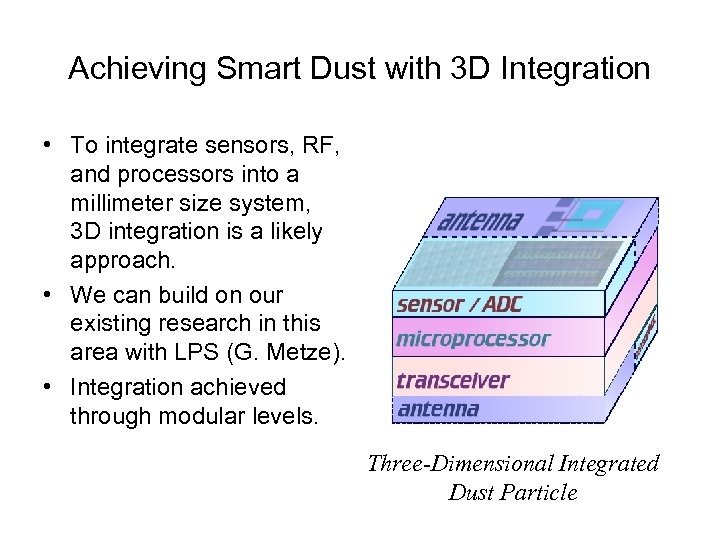 Achieving Smart Dust with 3 D Integration • To integrate sensors, RF, and processors