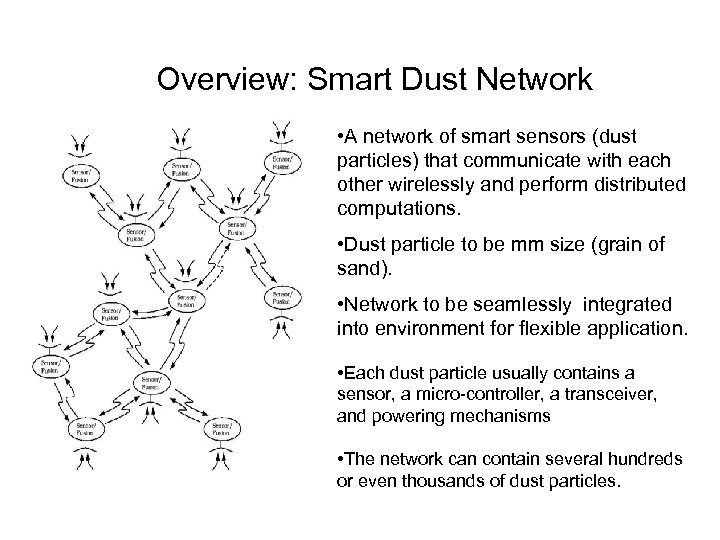 Overview: Smart Dust Network • A network of smart sensors (dust particles) that communicate