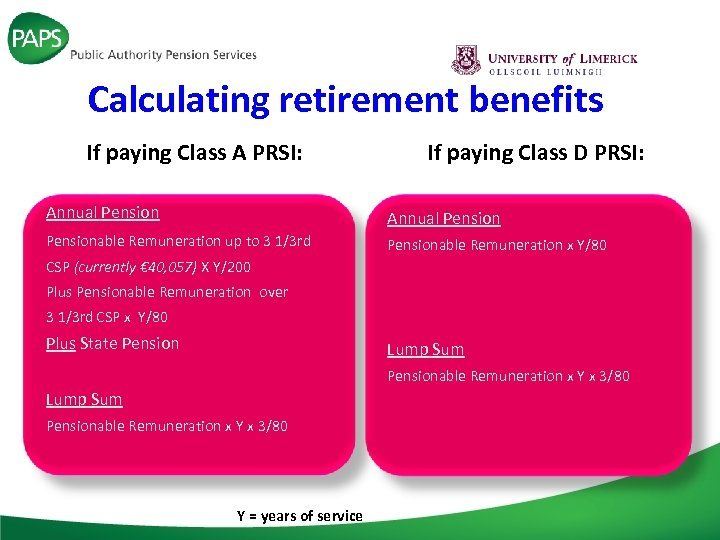 Calculating retirement benefits If paying Class A PRSI: Annual Pensionable Remuneration up to 3