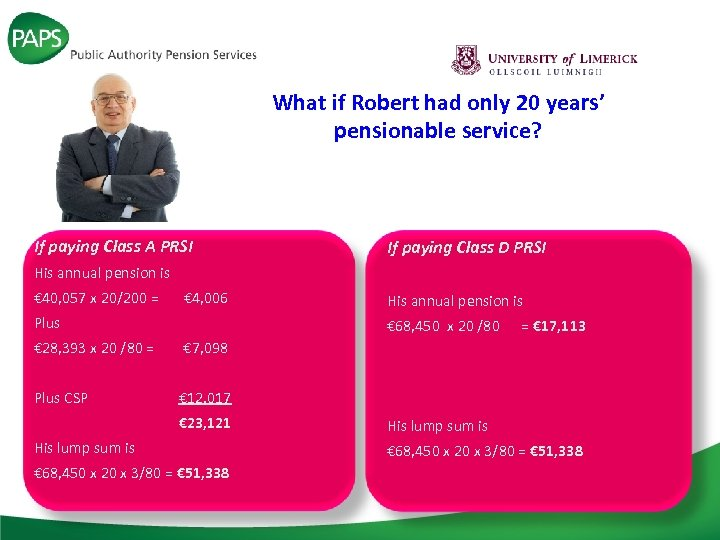 What if Robert had only 20 years' pensionable service? If paying Class A PRSI