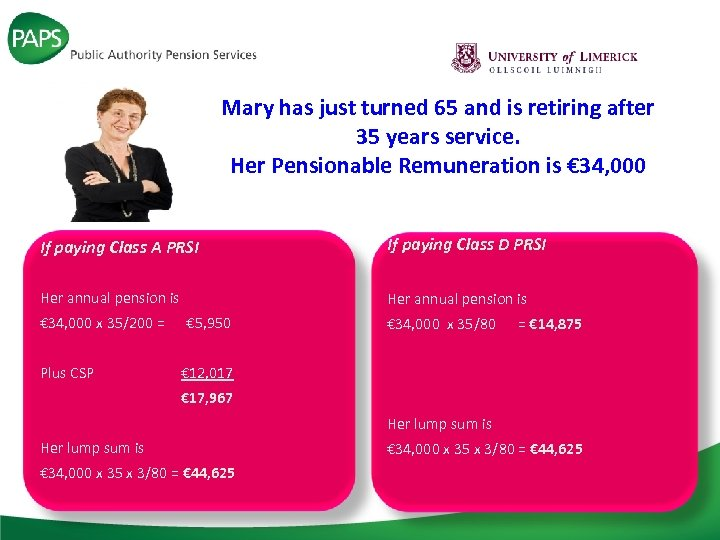 Mary has just turned 65 and is retiring after 35 years service. Her Pensionable