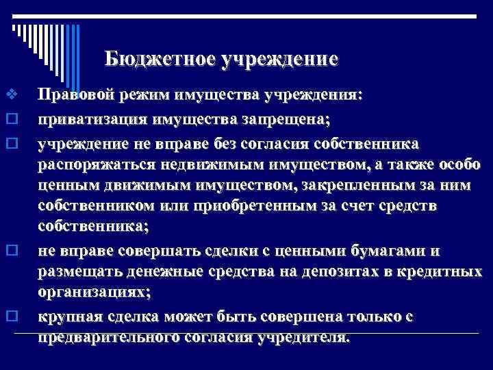 Бюджетное учреждение v o o Правовой режим имущества учреждения: приватизация имущества запрещена; учреждение не