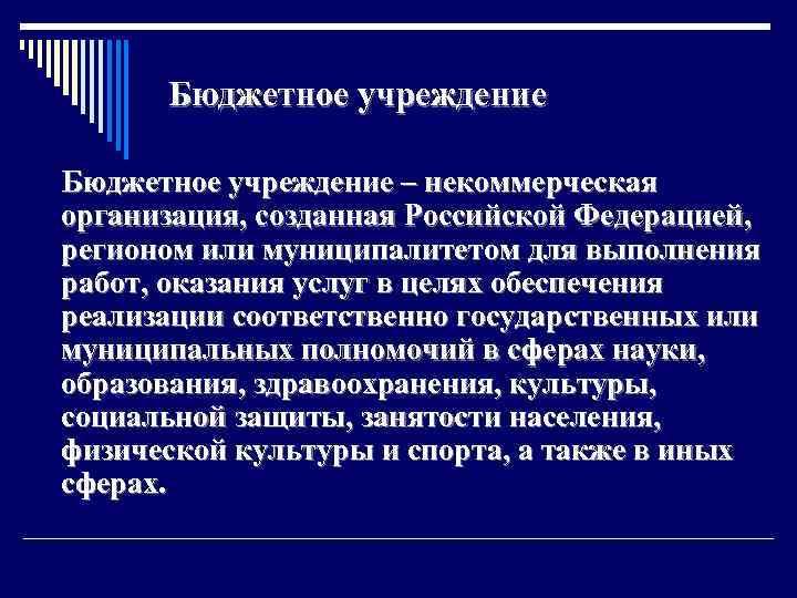 Бюджетное учреждение – некоммерческая организация, созданная Российской Федерацией, регионом или муниципалитетом для выполнения работ,
