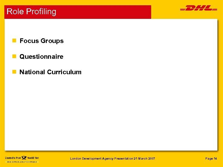 Role Profiling n Focus Groups n Questionnaire n National Curriculum London Development Agency Presentation