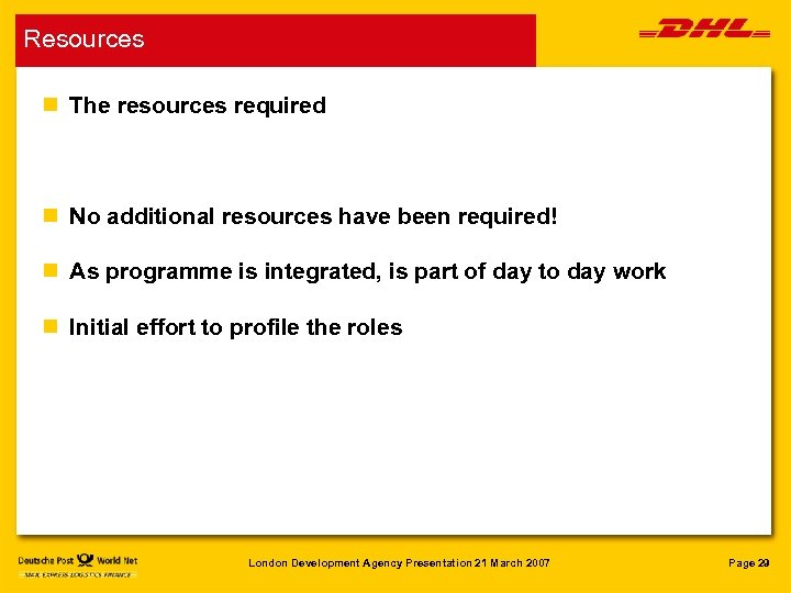 Resources n The resources required n No additional resources have been required! n As