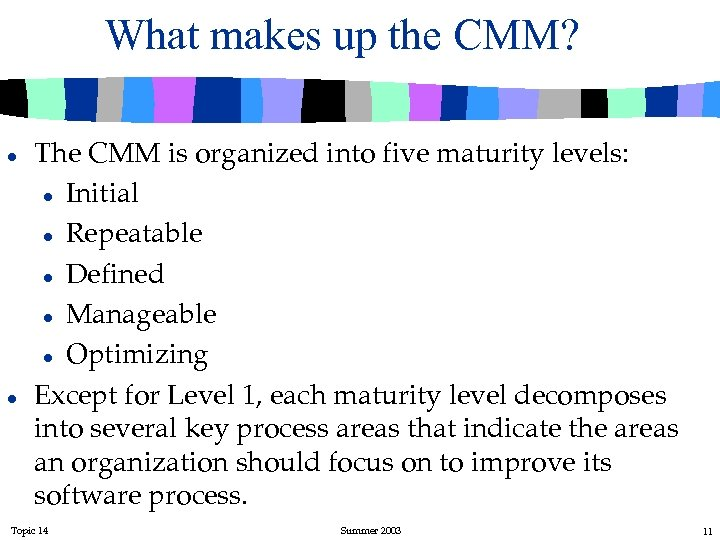 What makes up the CMM? l l The CMM is organized into five maturity