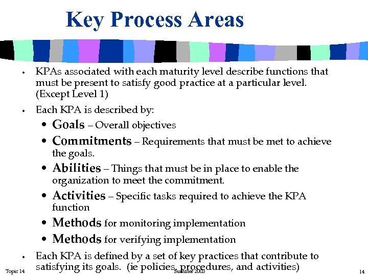 Key Process Areas • • KPAs associated with each maturity level describe functions that