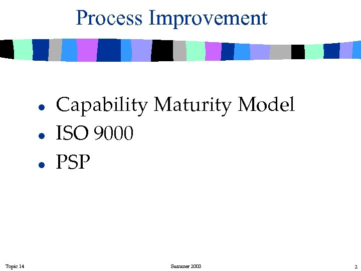 Process Improvement l l l Topic 14 Capability Maturity Model ISO 9000 PSP Summer