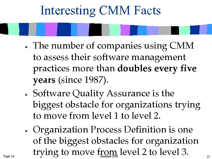 Interesting CMM Facts · · · Topic 14 The number of companies using CMM
