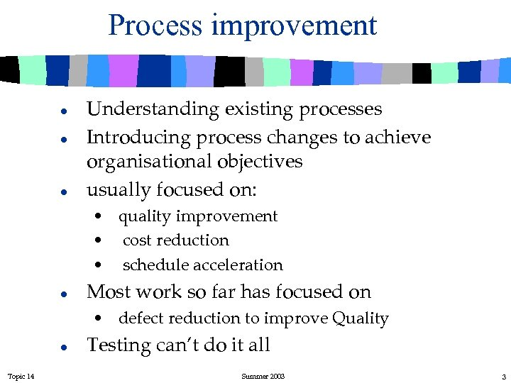 Process improvement l l l Understanding existing processes Introducing process changes to achieve organisational