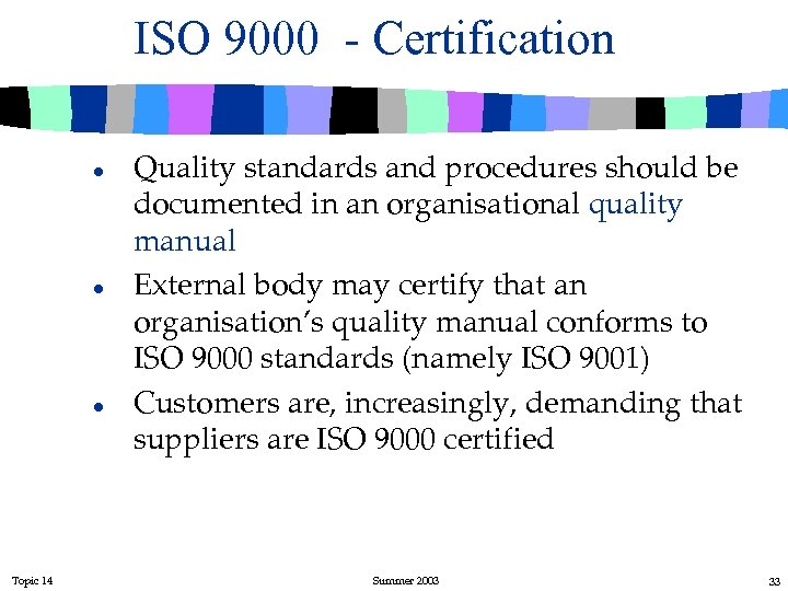 ISO 9000 - Certification l l l Topic 14 Quality standards and procedures should