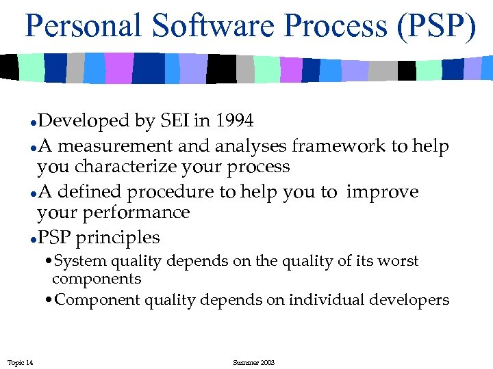 Personal Software Process (PSP) Developed by SEI in 1994 l. A measurement and analyses
