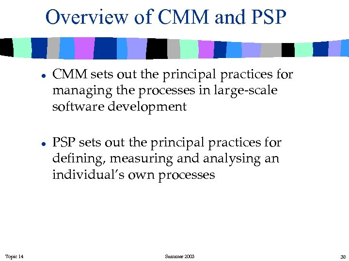 Overview of CMM and PSP l l Topic 14 CMM sets out the principal