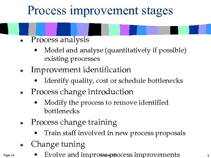 Process improvement stages l Process analysis • Model and analyse (quantitatively if possible) existing