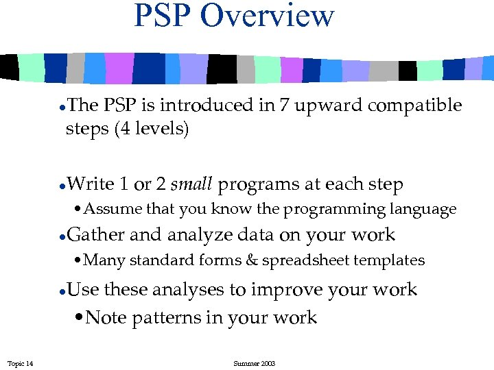 PSP Overview The PSP is introduced in 7 upward compatible steps (4 levels) l