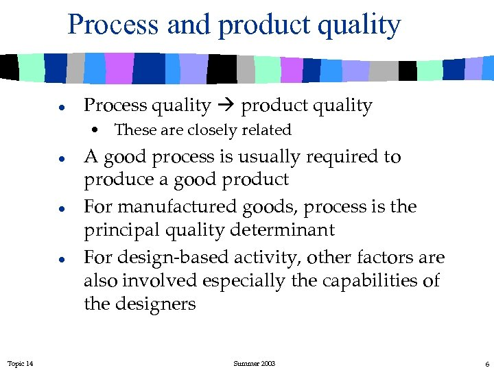 Process and product quality l Process quality product quality • These are closely related