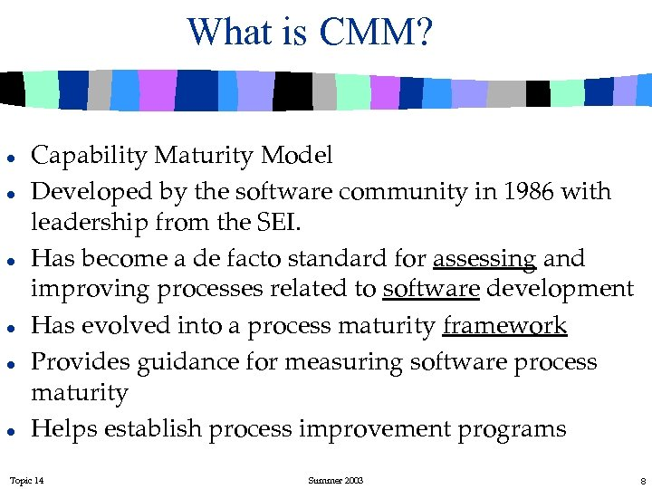 What is CMM? l l l Capability Maturity Model Developed by the software community
