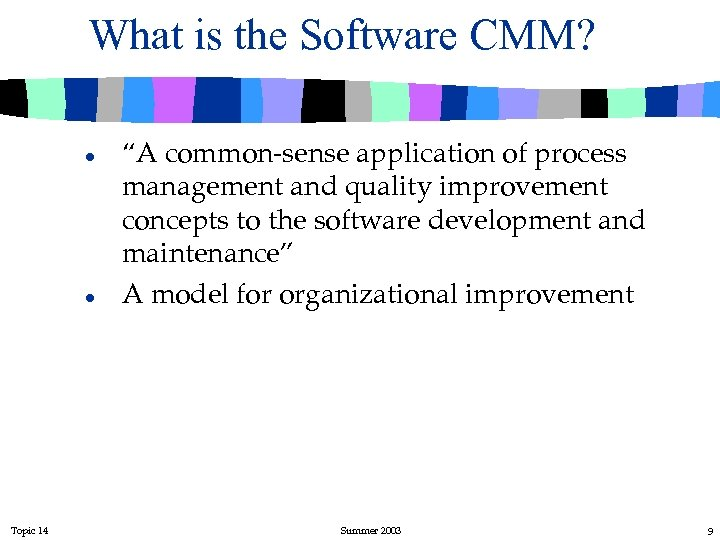 "What is the Software CMM? l l Topic 14 ""A common-sense application of process"