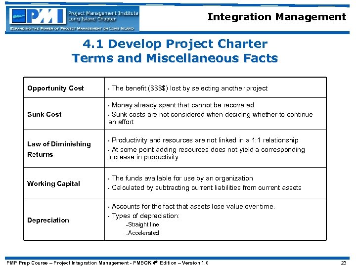 Integration Management 4. 1 Develop Project Charter Terms and Miscellaneous Facts Opportunity Cost •