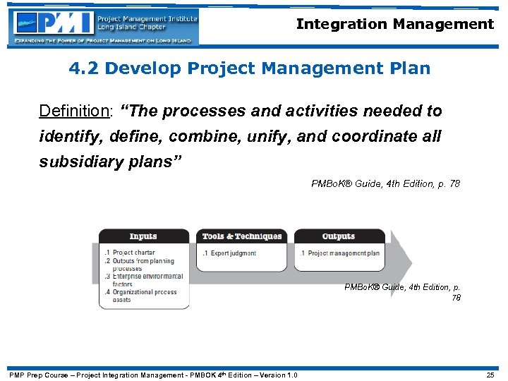 "Integration Management 4. 2 Develop Project Management Plan Definition: ""The processes and activities needed"