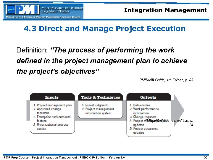 "Integration Management 4. 3 Direct and Manage Project Execution Definition: ""The process of performing"