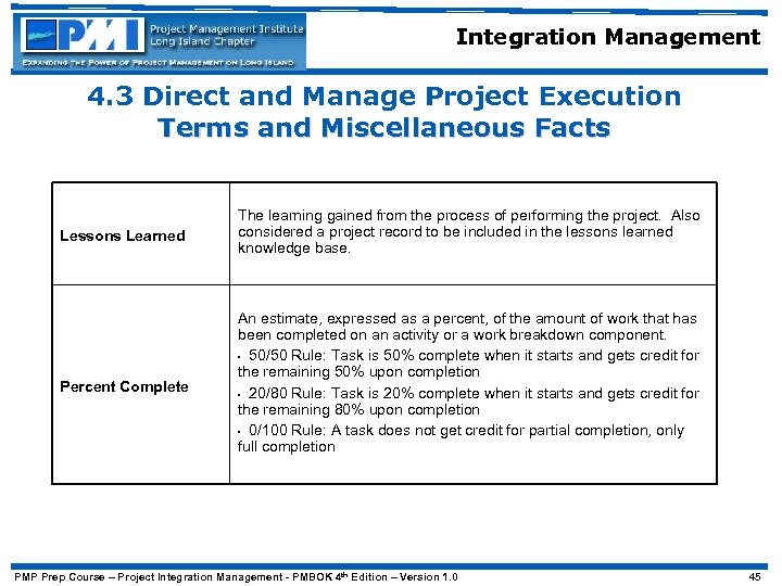 Integration Management 4. 3 Direct and Manage Project Execution Terms and Miscellaneous Facts Lessons