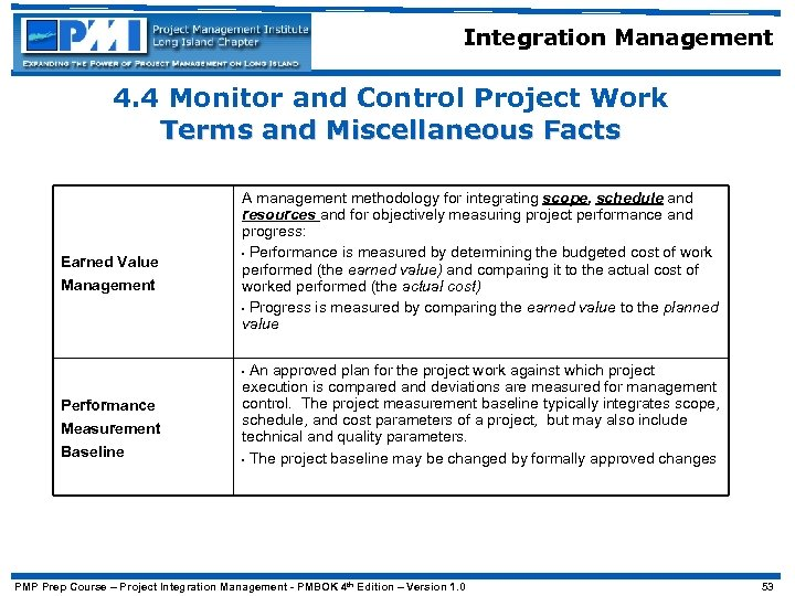 Integration Management 4. 4 Monitor and Control Project Work Terms and Miscellaneous Facts Earned