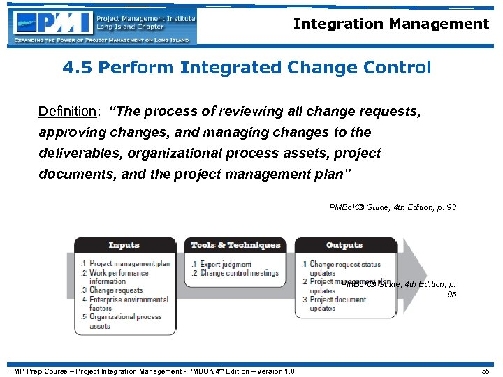 "Integration Management 4. 5 Perform Integrated Change Control Definition: ""The process of reviewing all"