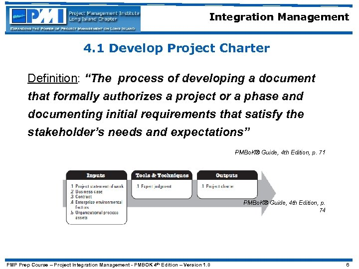 "Integration Management 4. 1 Develop Project Charter Definition: ""The process of developing a document"