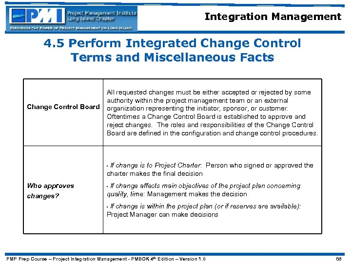 Integration Management 4. 5 Perform Integrated Change Control Terms and Miscellaneous Facts Change Control