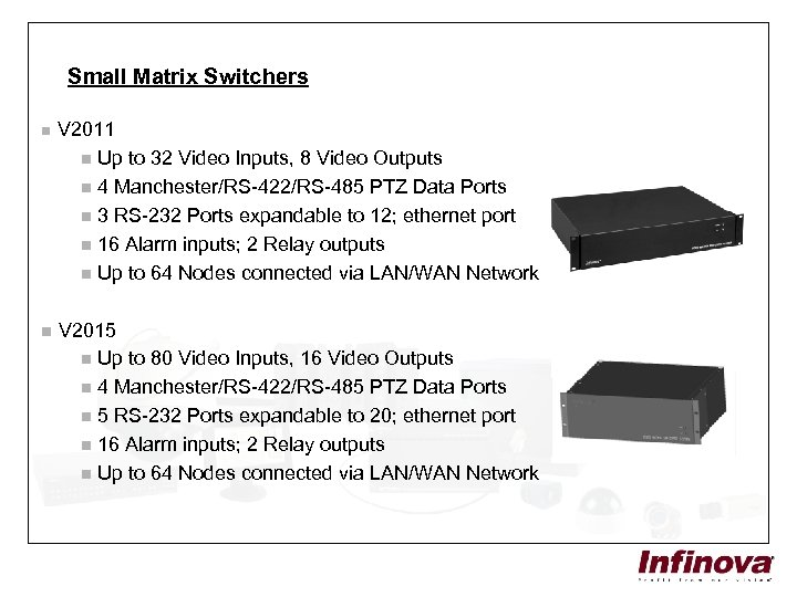 Small Matrix Switchers n V 2011 n Up to 32 Video Inputs, 8 Video