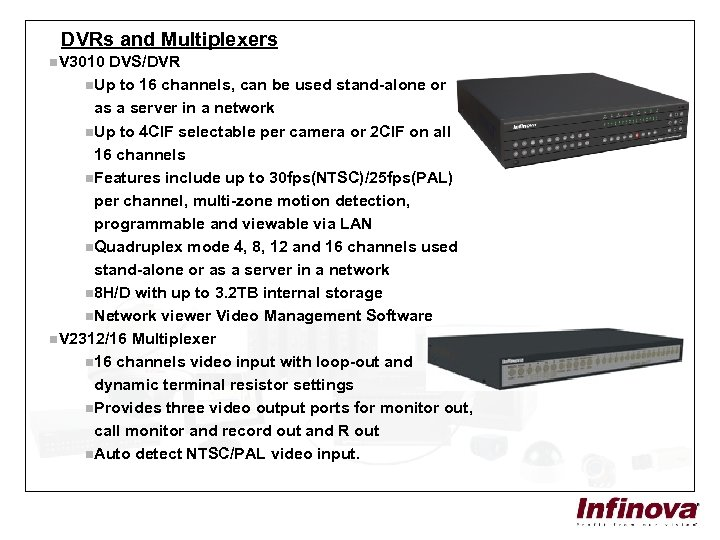 DVRs and Multiplexers n. V 3010 DVS/DVR n. Up to 16 channels, can be