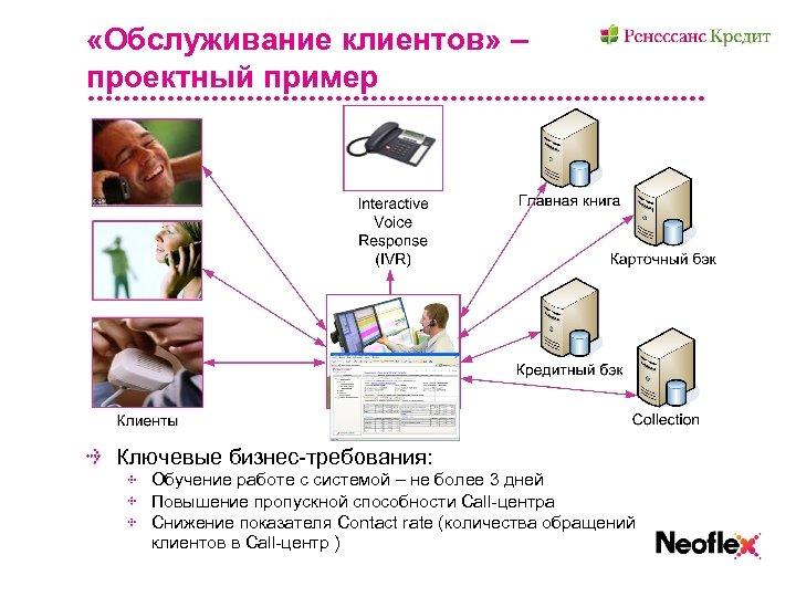 «Обслуживание клиентов» – проектный пример Ключевые бизнес-требования: Обучение работе с системой – не
