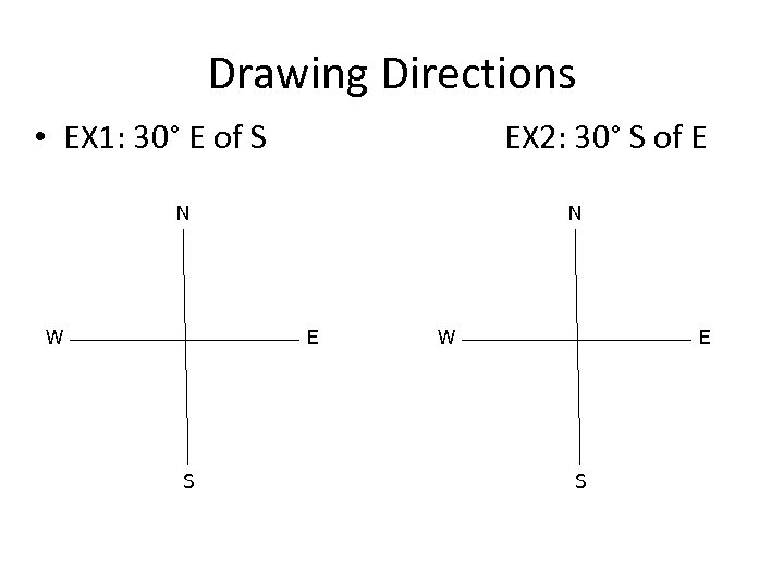 Drawing Directions • EX 1: 30° E of S EX 2: 30° S of