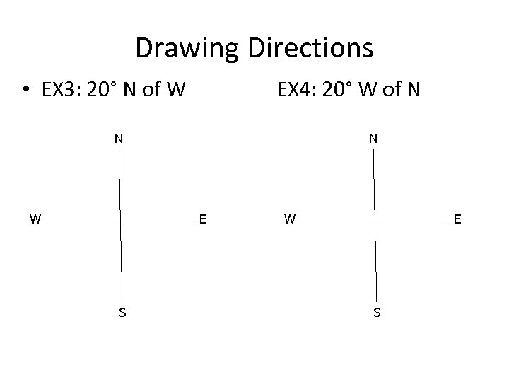 Drawing Directions • EX 3: 20° N of W EX 4: 20° W of
