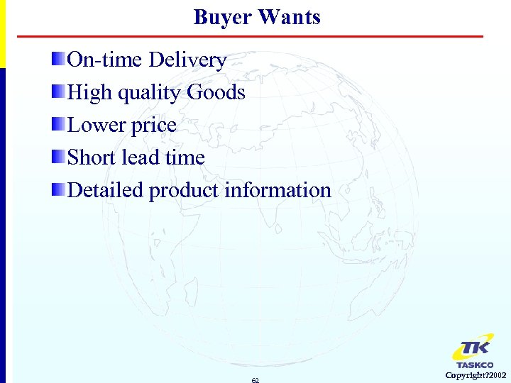 Buyer Wants On-time Delivery High quality Goods Lower price Short lead time Detailed product