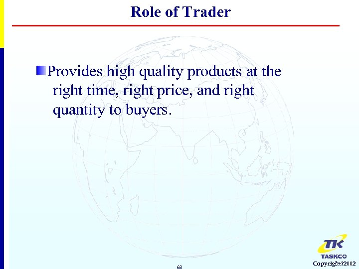 Role of Trader Provides high quality products at the right time, right price, and
