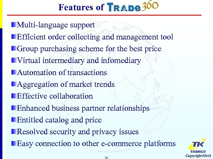 Features of Multi-language support Efficient order collecting and management tool Group purchasing scheme for