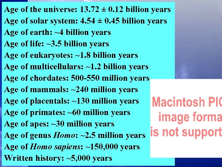 Age of the universe: 13. 72 ± 0. 12 billion years Age of solar