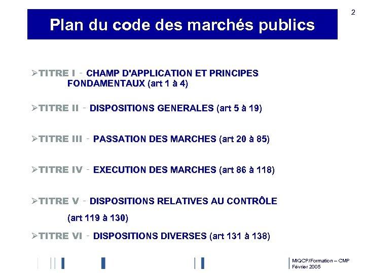 Plan du code des marchés publics 2 ØTITRE I ‑ CHAMP D'APPLICATION ET PRINCIPES