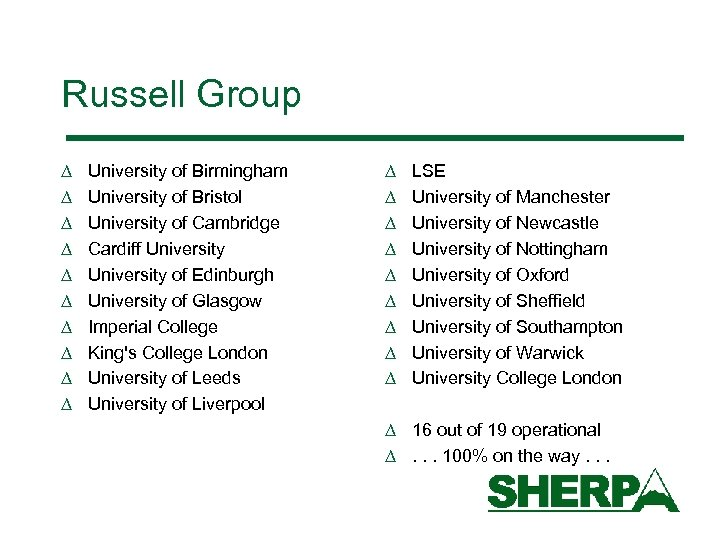 Russell Group D D D D D University of Birmingham University of Bristol University