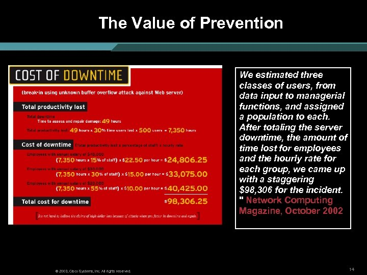 The Value of Prevention We estimated three classes of users, from data input to
